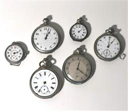 Sale 9142A - Lot 5003 - Group of (6) French & Swiss silver plated Fob Watches, c1910-1930s, various sizes