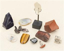 Sale 9239H - Lot 74 - A quantity of items including tigers eye, cabochon ring, crystals, and others