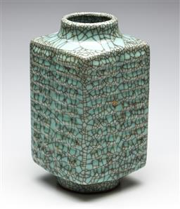 Sale 9253 - Lot 94 - A cong shaped Chinese crackle glazed vase (H:29cm)