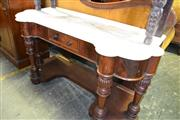 Sale 8093 - Lot 1777 - Victorian Mahogany Washstand with Shaped White Marble Top (Back Section Missing)