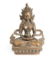 Sale 8379A - Lot 85 - A small bronze of a Buddha raised on lotus form base with marking to base, height 12cm