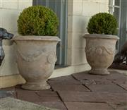 Sale 8745A - Lot 1 - A pair of Anduze style terracotta pots with spheres, each H 73 (not inc. plant) x 60cm in diameter