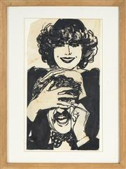 Sale 8784 - Lot 2031 - Artist Unknown - Untitled (Two Figures Joking) 30 x 16.5cm