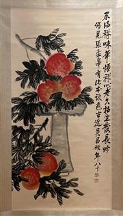 Sale 8951S - Lot 22 - Chinese Scroll featuring Peaches, Ink and Colour on Paper