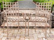Sale 9060H - Lot 210 - A pair of lattice garden chairs in taupe. Height of back 90cm width 48x 45cm