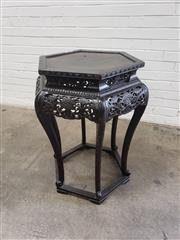 Sale 9085 - Lot 1068 - Chinese Late Qing Dynasty Hexagonal Side Table, the pierced carved apron with peonies & raised on cabriole legs (H:82 x D:58cm)