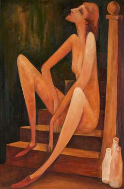 Sale 9141 - Lot 563 - Bill Coleman (1922 - 1993) Girl on a Staircase, 1974 oil on canvas on board 90 x 59.5 cm (frame: 101 x 71 x 3 cm) signed and dated l...