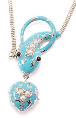 Sale 9168J - Lot 364 - A VICTORIAN INSPIRED ENAMELLED SILVER GEMSET LOCKET NECKLACE; serpent and heart locket in sky blue enamel set with cultured pearls a...