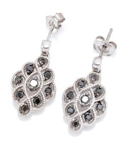 Sale 9194 - Lot 393 - A PAIR OF SILVER STONE SET EARRINGS; 20 x 12mm drops set with black round cut zirconias to stud fittings, wt. 3.23g.