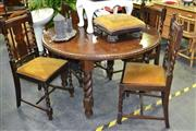 Sale 7987A - Lot 1158 - Circular Table on Barley Twist Legs with 4 Inlaid Matching Chairs
