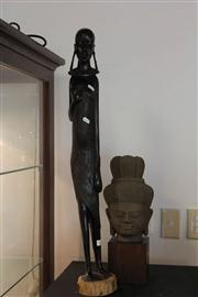 Sale 8047 - Lot 63 - Carved Timber Statue of African Woman