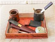Sale 8250 - Lot 83 - Vintage Leather Desk Blotter ,and another, together with several vintage leather pen holders