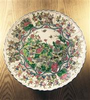 Sale 8298 - Lot 100 - ) Large Chinese Charger, polychrome flowers and ducks design, marks to base, Dia. 40cm
