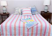 Sale 8470H - Lot 321 - A Moss River blue, white and pink striped queen size coverlet with matching continental pillow case, a Ken Done quilt cover, extra l...