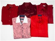 Sale 8550F - Lot 66 - Five gent's dress shirts, mainly red, including Rossini and Bisse, L-XL.