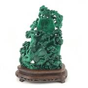 Sale 8545N - Lot 13 - Chinese Finely Carved Malachite Lidded Container (H: 33cm w/ stand)