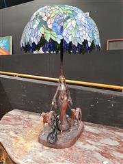 Sale 8724 - Lot 1002 - Cast Metal Lady with Hound Leadlight Shade Table Lamp
