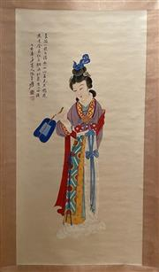 Sale 8951S - Lot 23 - Chinese Scroll of a Lady, Ink and Colour on Paper
