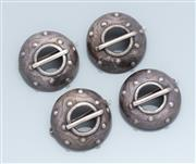 Sale 9037F - Lot 84 - FOUR MATCHING SILVER BROOCHES; 25mm wide spotted domes, total wt. 22.9g.