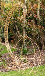 Sale 9060H - Lot 211 - Garden swing in wrought iron with cream paint finish 220 x 120cm