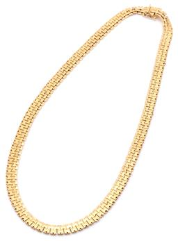 Sale 9132 - Lot 348 - AN 18CT GOLD FANCY LINK NECKLACE; 7.2mm wide fancy brick bow and bead link chain to integrated box clasp with safety catch stamped F...