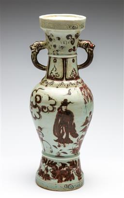 Sale 9253 - Lot 192 - A lion handled Chinese red and white vase (H:37cm)