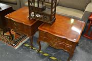 Sale 8138 - Lot 912 - Pair of Large 2 Drawer Bedside Tables Raised on Cabriole Legs