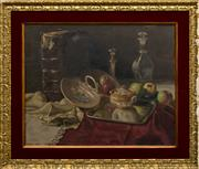 Sale 8205 - Lot 13 - E Mayer - Still Life with Book, Candlestick and Decanter 42 x 33cm