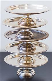 Sale 8279A - Lot 94 - A set of five silver plated small cake stands, diameter 20cm