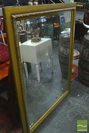 Sale 8328 - Lot 1032 - Large Gold Framed Mirror with bevelled edge, 110 x 140cm