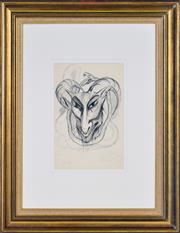 Sale 8382 - Lot 524 - Rosaleen Norton (1917 - 1979) - Demonic Figure and Snake 31.5 x 20.5cm (frame size: 70 x 54cm)
