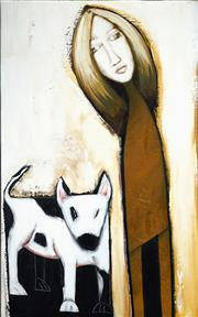Sale 8467 - Lot 516 - Gordon Richards (1945 - ) - Girl and Dog, c1995 120 x 75cm