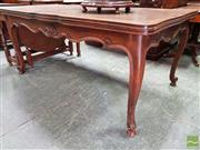 Sale 8485 - Lot 1063 - Oak French Extension Dining Table, with parquetry top, shell carved apron & cabriole legs