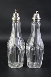 Sale 8827 - Lot 73 - Pair of George III Crystal and Sterling Silver Sugar Castors