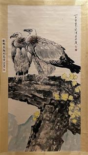 Sale 8951S - Lot 24 - Chinese Scroll depicting Eagles, Ink and Colour on Paper