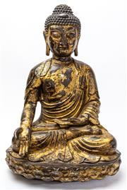 Sale 9083N - Lot 42 - A large gilt bronze buddha in seated pose. six character mark to back Height 57cm