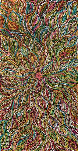 Sale 9188A - Lot 5055 - JANET GOLDER KNGWARREYE (1973 - ) - Yam Dreaming 178.5 x 93 cm (stretched and ready to hang)