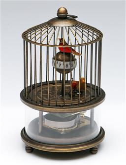 Sale 9164 - Lot 385 - Chinese reproduction Bird Cage Clock with exposed mechanism, H:17 cm
