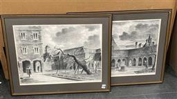 Sale 9176 - Lot 2146 - Pair of Lithographs depicting The Old Charter House & Charter House School - Scholars Court, 54 x 67cm (frames) each signed