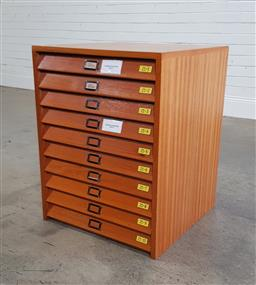 Sale 9188 - Lot 1120 - Timber cased specimen cabinet of ten glass enclosed drawers (h:74 w:55 d:56cm)