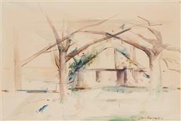 Sale 9216A - Lot 5026 - JOHN BORRACK (1933 - ) Old Stone Dairy at the Quarry watercolour 35.5 x 53.5 cm (frame: 51 x 69 x 3 cm) signed lower right