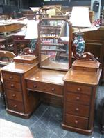 Sale 7919A - Lot 1720 - Victorian Mahogany Double Pedestal Dressing Table with Mirror Back & 11 Drawers