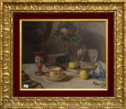 Sale 8205 - Lot 14 - E Mayer - Still Life with Flowers, Tea Cup and Goblet 42 x 51cm