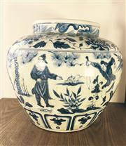Sale 8298 - Lot 101 - Large Chinese b/w pot, flowers and figures design, H. 31.5cm