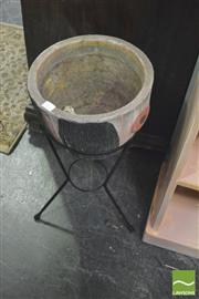 Sale 8359 - Lot 1704 - 1950s Concrete Planter in Metal Stand