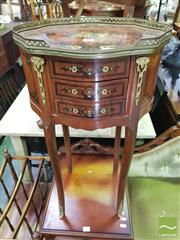 Sale 8447 - Lot 1049 - Inlaid Side Table on Metal Mounts on Cabriole Legs