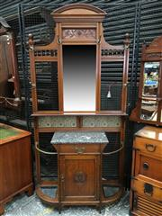 Sale 8666 - Lot 1020 - Late Victorian Oak Hallstand, the mirror back with turned gallery & tiles, above a black marble shelf, drawer and panel door