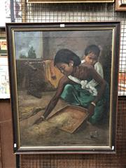 Sale 8807 - Lot 2058 - Artist Unknown (India) Mother Housekeeping with Son 1962 oil on canvas, 76 x 60cm, signed lower right -
