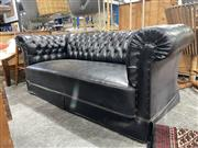 Sale 8901F - Lot 1087 - Black Leather Chesterfield Style 3 Seater Lounge