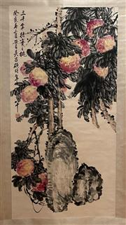 Sale 8951S - Lot 25 - Chinese Scroll of Peaches, Ink and Colour on Paper